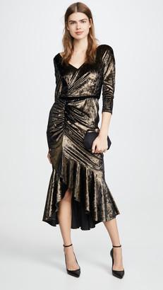 Marchesa Shirred Cocktail Dress