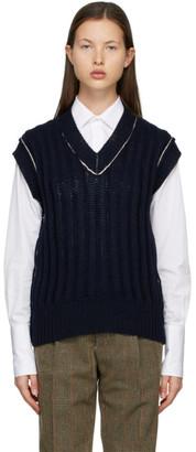 Maison Margiela Navy Ribbed V-Neck Sweater