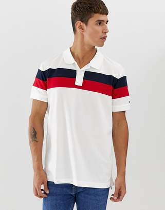 Tommy Hilfiger polo slim fit with icon chest stripe in white