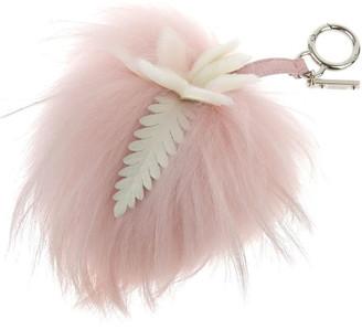 Fendi Pink/White Fur Flower Pompom Bag Charm and Key Holder