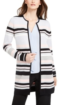 Calvin Klein Petite Striped Open-Front Cardigan