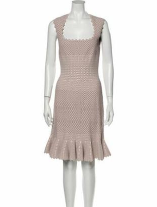 Alaia Square Neckline Knee-Length Dress Pink