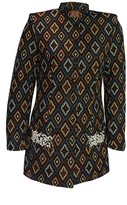 Women's Long Jacket With Pearl Embroidery Blue