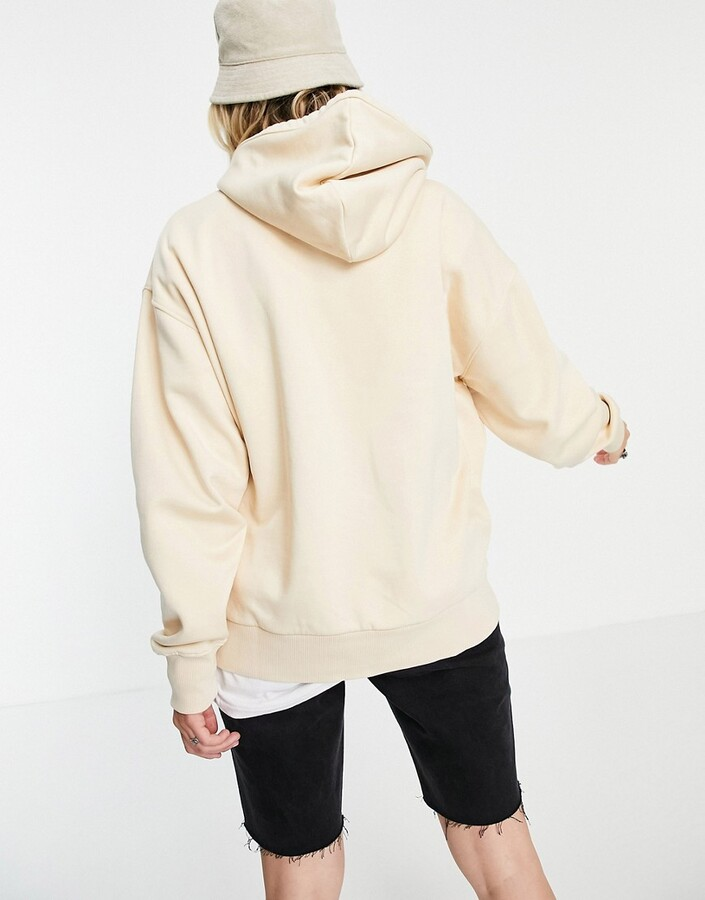 Thumbnail for your product : Weekday Alisa organic blend cotton hoodie with dog motif in beige