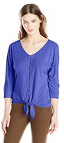 Notations Women's 3/4 Dolman Sleeve Tie Front Blouse