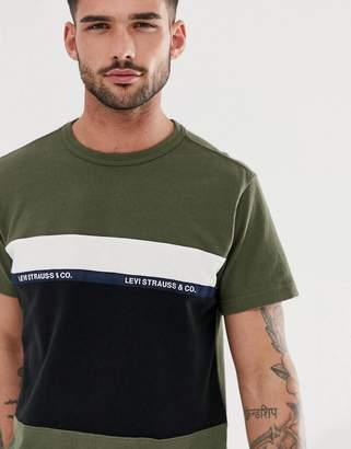 Levi's mighty pieced tape logo applique t-shirt in olive night-Green