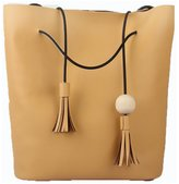 Gold-Tech Women Leather Vintage Tassel Wood Drawstring Bucket Style Tote Bag Shoulder Bags