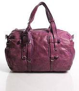 Theory Purple Pink Leather Silver Tone Hardware Double Handle Shoulder Handbag