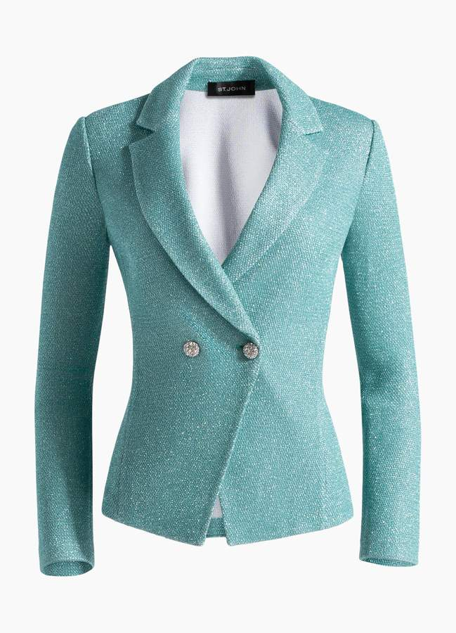 St. John Bailey Knit Double Breasted Blazer