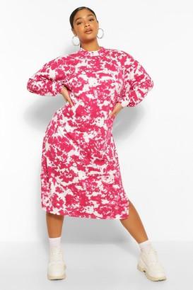 boohoo Plus Tie Dye Midi Sweat Dress