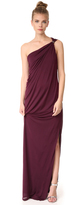 Halston One Shoulder Draped Jersey Gown with Slit