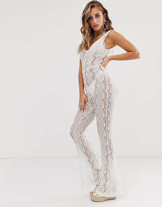 Asos Design DESIGN plunge lace beach jumpsuit with flare trousers