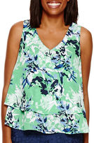 Liz Claiborne Sleeveless Double-Layer Print Tank Top