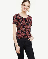 Ann Taylor Floral Linen Scoop Neck Tee