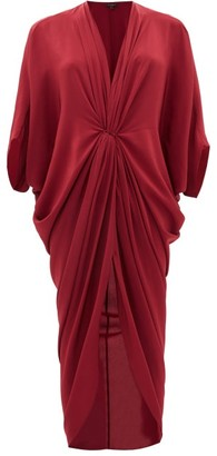 Thea - The Olympia Draped Silk Crepe De Chine Dress - Womens - Red