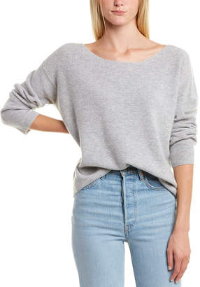 Monrow Off-The-Shoulder Rib Wool & Cashmere-Blend Sweater