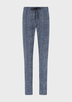 Emporio Armani Drawstring Trousers With 3D Tweed Print