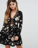 boohoo Printed Tie Front Skater Dress