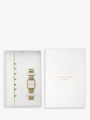 ROSEFIELD BMWLBG-X24 Women's Round Charm Bracelet and Date Bracelet Strap Watch Gift Set, Gold/White