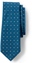 Lands' End Men's Long Silk Cotton Floral Neat 7 Fold Necktie-Teal Floral Neat