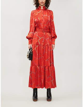 Alexis Soraya belted satin-jacquard maxi dress