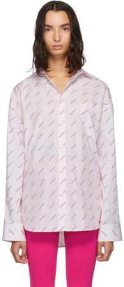 Balenciaga Pink Allover Logo Masculine Shirt