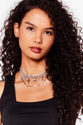 Nasty Gal Womens Crossed a Line Layered Charm Necklace - Metallics - ONE SIZE, Metallics