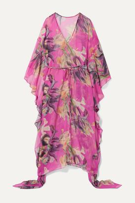 PatBO Grace Asymmetric Floral-print Gauze Kaftan - Fuchsia