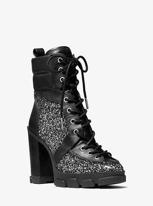 Michael Kors Ridley Glitter and Leather Lace-Up Boot