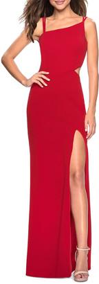 La Femme Asymmetric-Neck Sleeveless Jersey Dress with Strappy-Back & Thigh-Slit