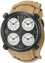 Adee Kaye Men's Quartz Stainless Steel and Leather Dress Watch, Color:Beige (Model: AK2275-IPB/ TAN-WIDE)