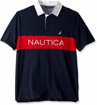 Nautica Men's Tall Classic Fit Short Sleeve Logo Stripe 100% Cotton Polo Shirt