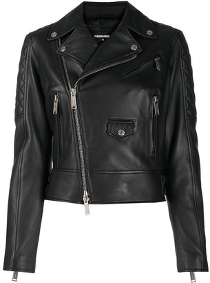 DSQUARED2 Quilted Detail Off-Centre Zip Jacket