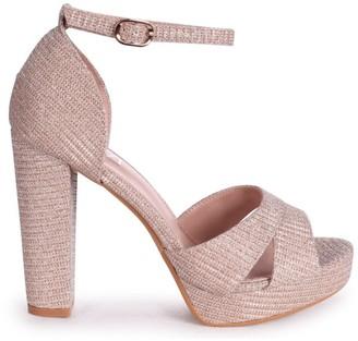 Linzi OLIVIA - Rose Gold Glitter Textile Closed Back Platform Block Heel