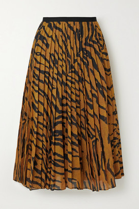 Adam Lippes Pleated Tiger-print Voile Midi Skirt - Orange