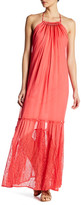 Adelyn Rae Woven Chiffon Lace Maxi Dress