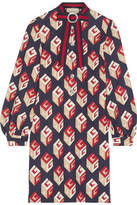 Gucci Embellished Printed Stretch-jersey Mini Dress - Navy