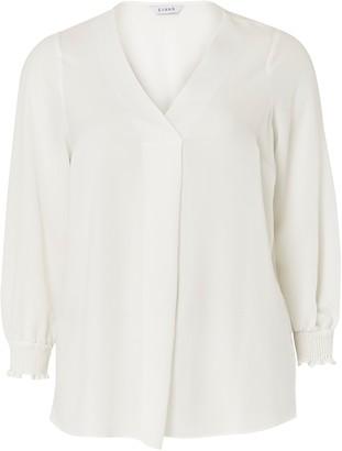 Evans Ivory Shirred Cuff Shirt
