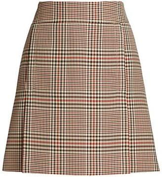 Akris Punto Glen Check A-Line Skirt