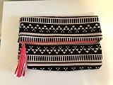 Bergdorf Goodman Aztec Print w/ Pull Tassel Cotton/Linen Foldover Clutch Bag