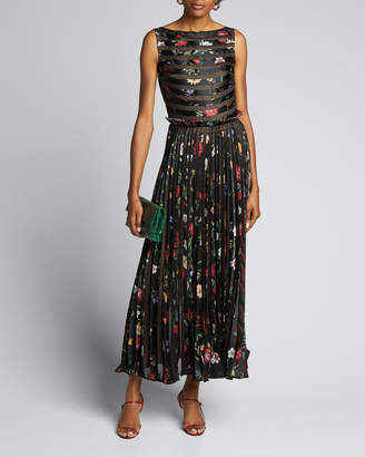 Oscar de la Renta Floral Striped Pleated Gown