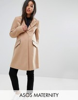 Asos Slim Boyfriend Coat With Zip Pocket
