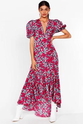 Nasty Gal Womens Puff Sleeve Dip Hem Midaxi Tea Dress in Pink Floral - 10