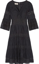 Temperley London Desdemona Pleated Cotton-voile And Guipure Lace Dress - Black