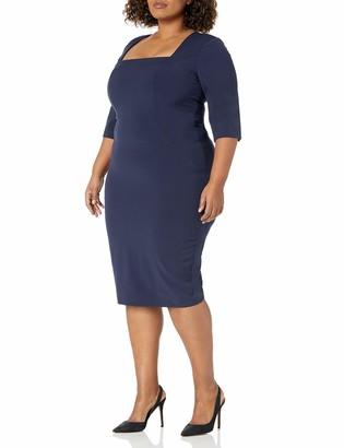 Single Dress Women's Plus Size Square Neck Elbow Sleeve Dress