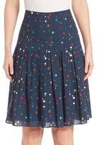 Akris Punto Boulder Print Pleated Wool Skirt