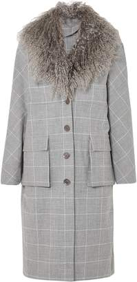 Lela Rose Shearling-trimmed Checked Jacquard Coat