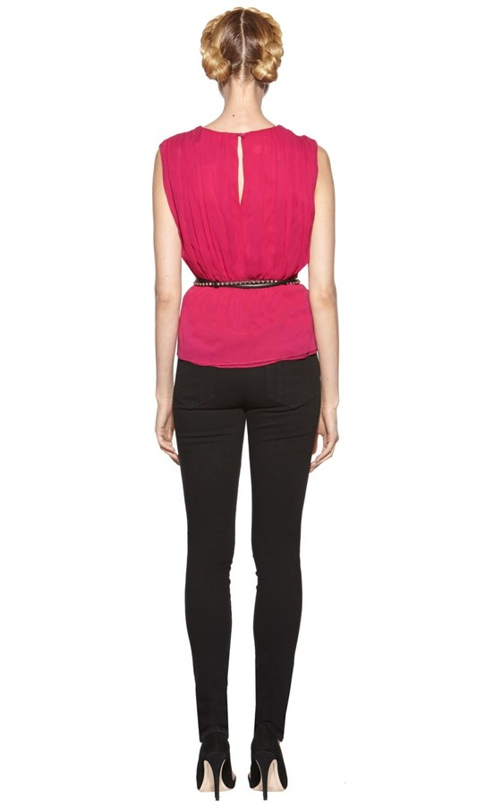 Alice + Olivia Abigayle Rouched Crossover Top