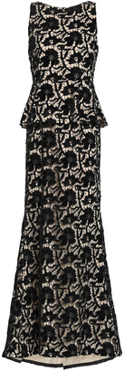 Alice + Olivia Open-back Macrame Lace Peplum Gown