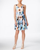 Calvin Klein Petite Pleated Floral-Print Fit & Flare Dress